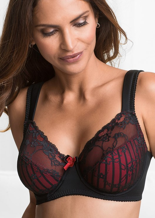 b571df93514 Black   Red LACE DETAIL MINIMIZER BRA from VENUS