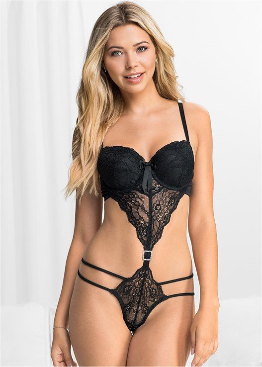 SHEER LACE STRAPPY TEDDY