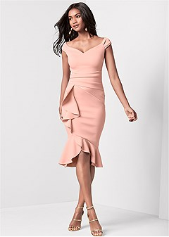 911b54758884 ruffle detail dress