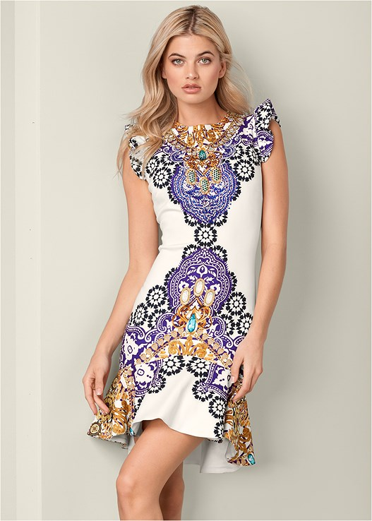 RUFFLE DETAIL PRINTED DRESS,METALLIC STRAP HEELS