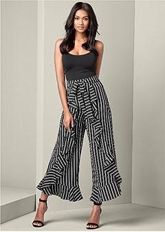 striped ruffle detail pants