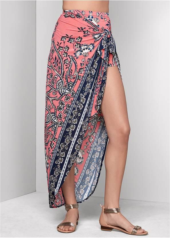 Alternate View Print Wrap Skirt