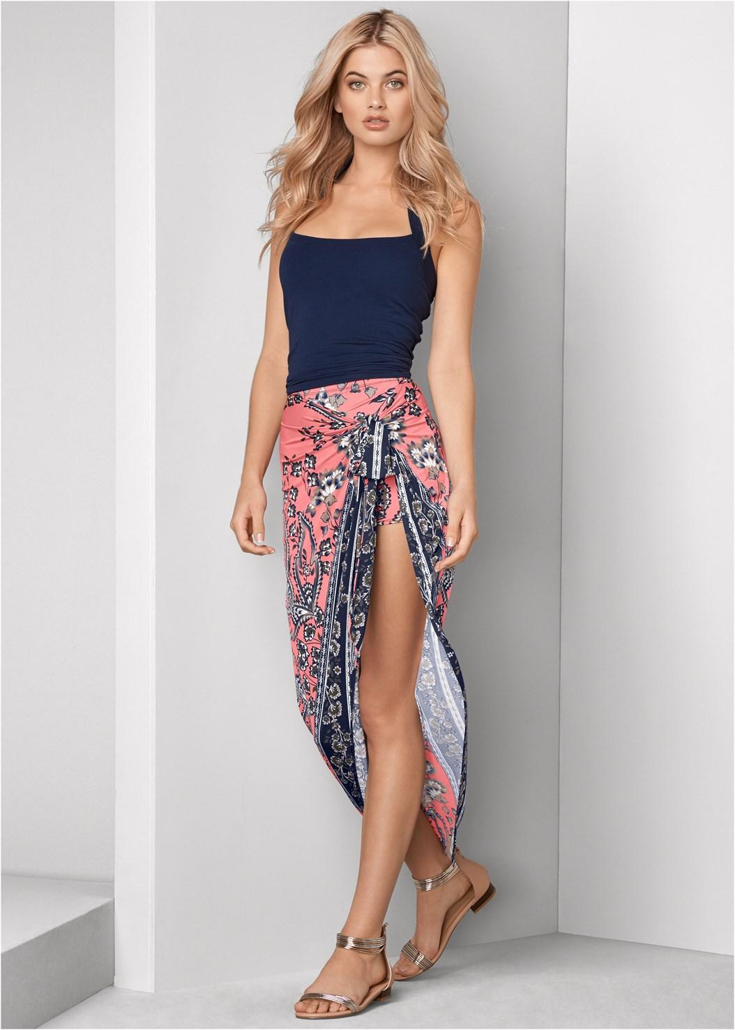Print Wrap Skirt,Easy Halter Top,Metallic Strap Sandals