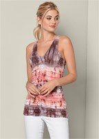 ruched detail tie dye top
