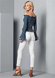Back View Off The Shoulder Denim Top