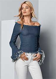 Front View Off The Shoulder Denim Top