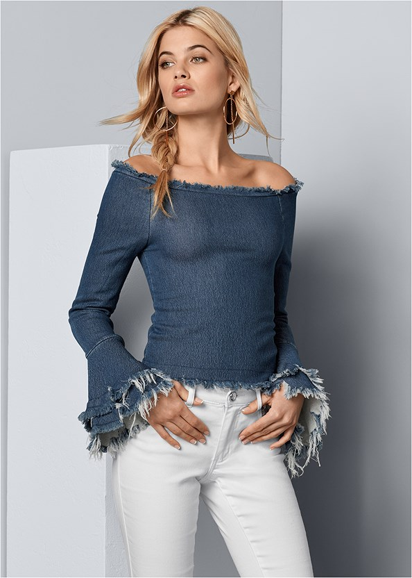 Off The Shoulder Denim Top,Mid Rise Color Skinny Jeans,Circle Detail Handbag