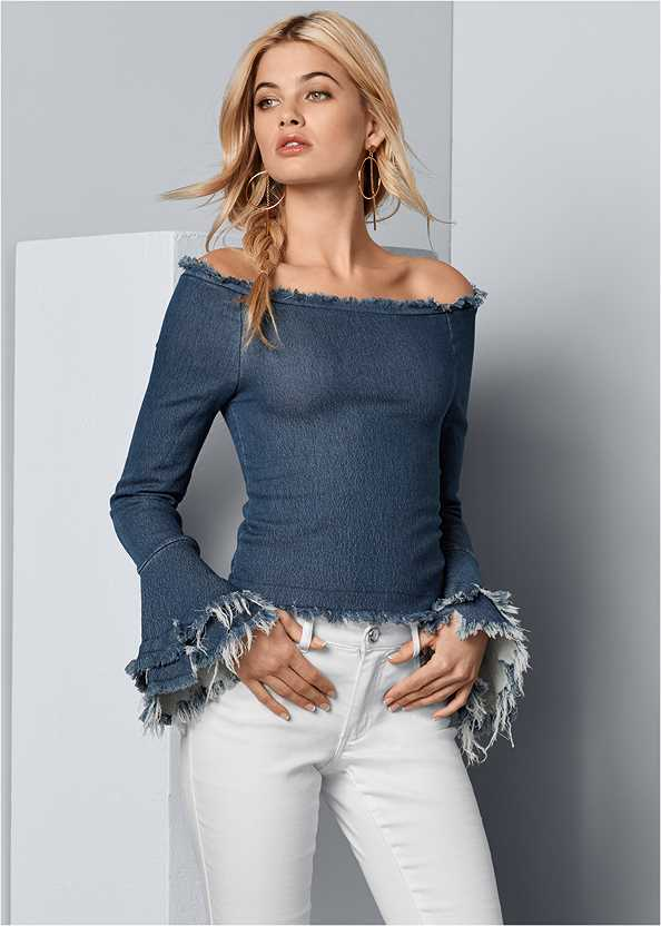 Off The Shoulder Denim Top,Mid Rise Color Skinny Jeans