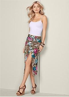 buckle detail midi skirt