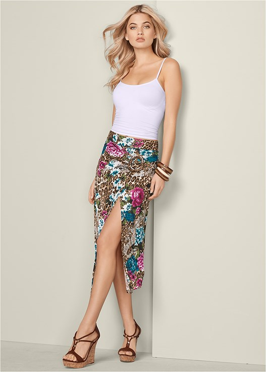 BUCKLE DETAIL MIDI SKIRT,SEAMLESS CAMI