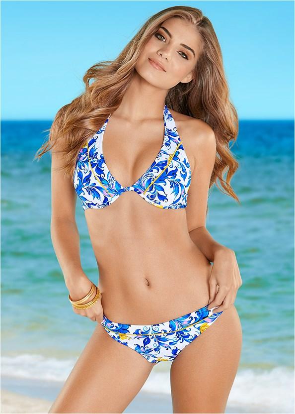 Mid Rise Bikini Bottom,Underwire Halter Bikini Top