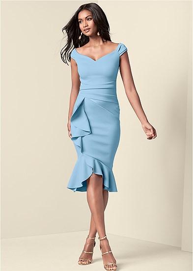 cap sleeve ruffle detail dress