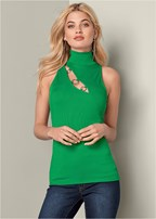 ring detail mock neck top