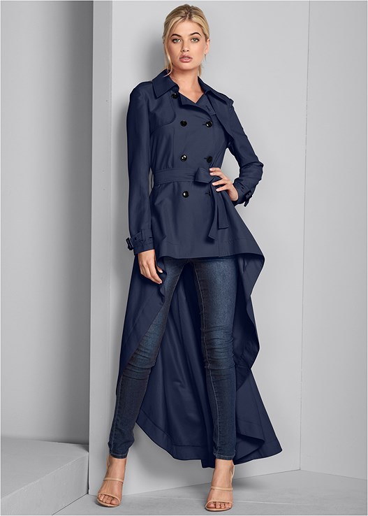 HIGH LOW TRENCH COAT,COLOR SKINNY JEANS,HIGH HEEL STRAPPY SANDALS,HOOP EARRINGS