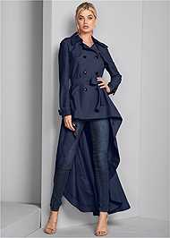 Front View High Low Trench Coat