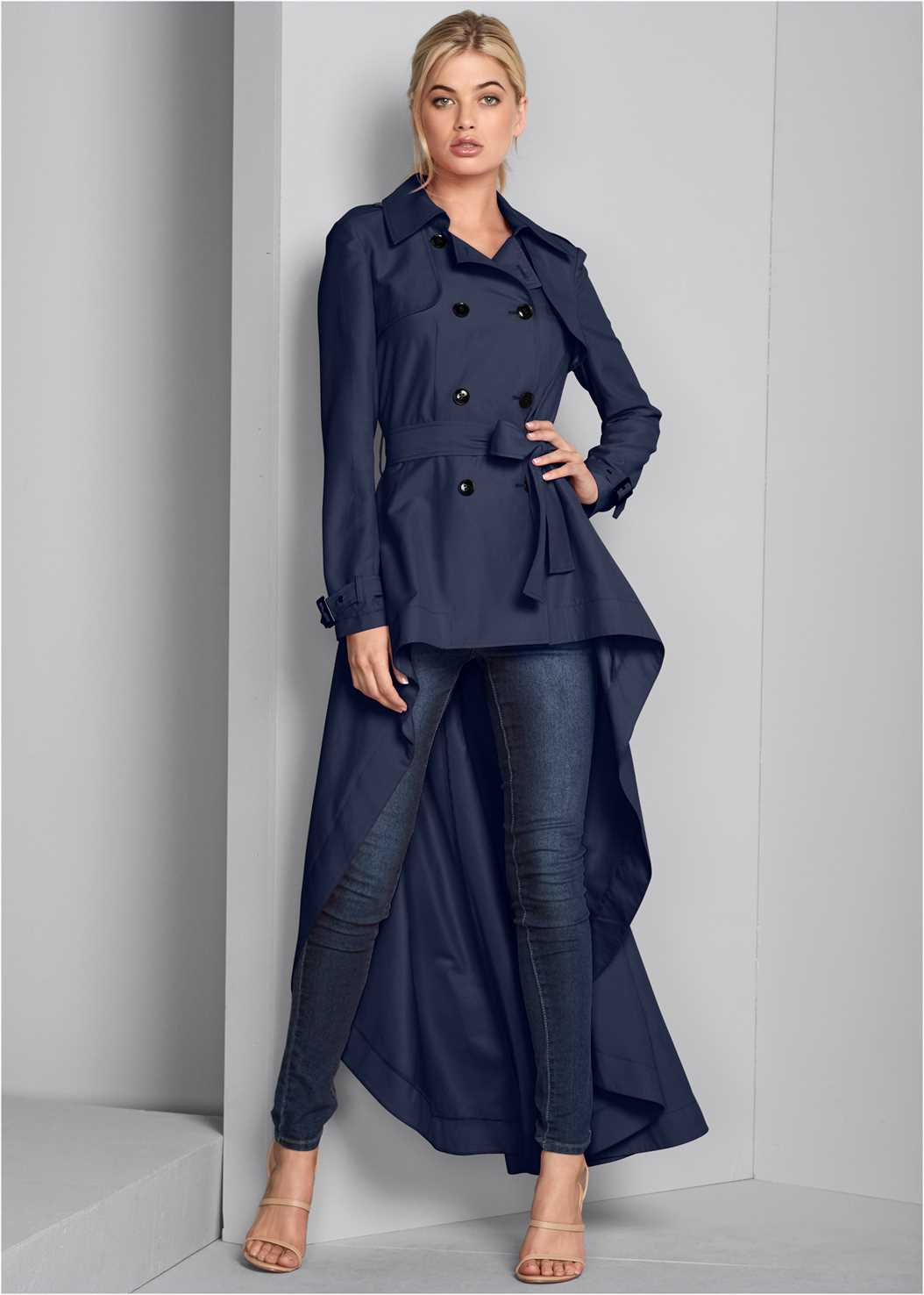 High Low Trench Coat,Mid Rise Color Skinny Jeans,High Heel Strappy Sandals