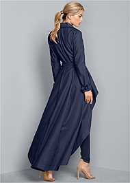 Back View High Low Trench Coat