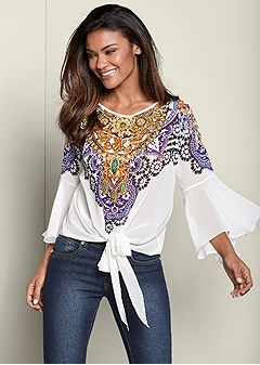 embellished tie front top