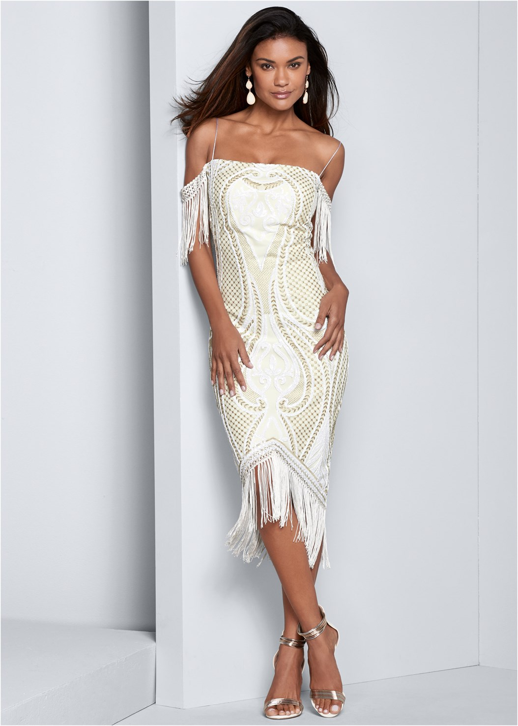 Sequin Fringe Bodycon Dress,Metallic Strap Heels
