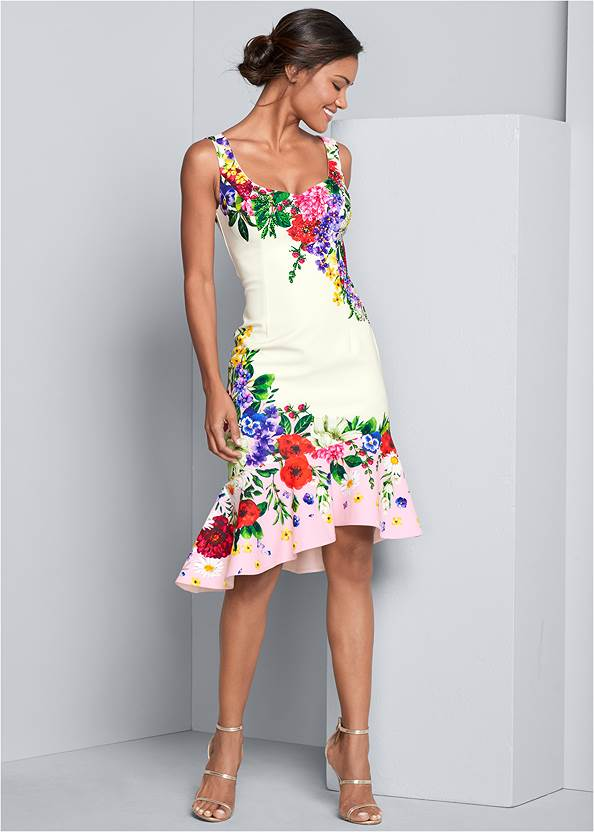 Front View Ruffle Trim Detail Dress