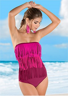 slimming fringe one-piece