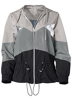 plus size metallic detail rain jacket