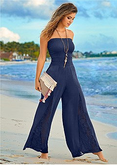 sleeveless smocked jumpsuit with lace detail