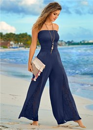 Front View Sleeveless Smocked Jumpsuit With Lace Detail