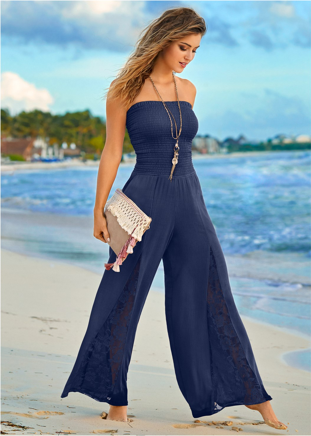 Sleeveless Smocked Jumpsuit With Lace Detail,Natural Beauty Lace Bandeau,Embellished Wedges,Striped Sequin Backpack