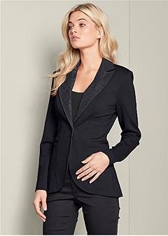 lace detail blazer