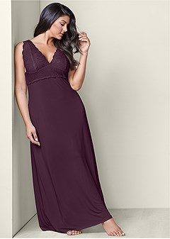plus size lace detail nightgown