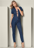 plunging denim jumpsuit
