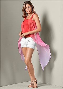 ombre exaggerated hem top