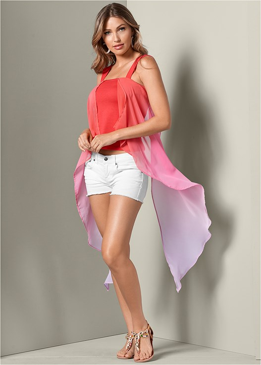 OMBRE EXAGGERATED HEM TOP,EMBELLISHED ROPE SANDALS