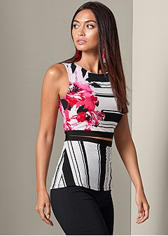printed cut out detail top