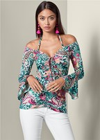 cold shoulder print top