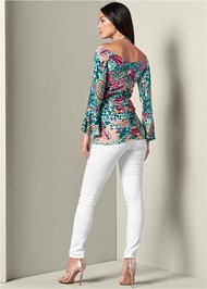 Back View Cold Shoulder Print Top