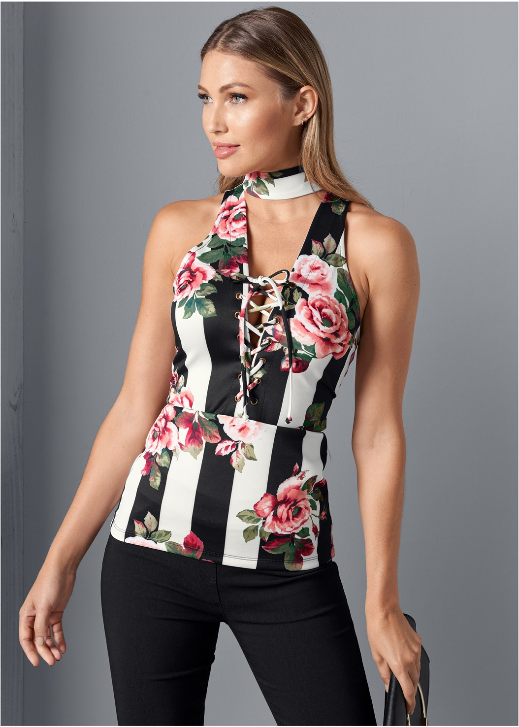 Printed Lace Up Top,Mid Rise Slimming Stretch Jeggings,Asymmetrical Strappy Heels