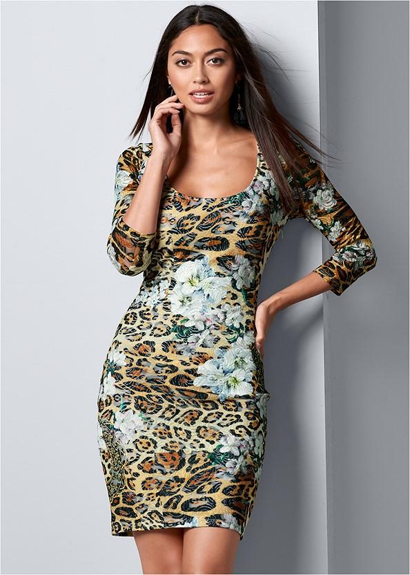 Print Lace Bodycon Dress,Bauble Fringe Earrings