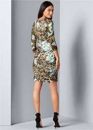 Back view Print Lace Bodycon Dress