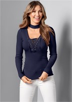 mock neck lace up sweater