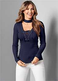 Front View Mock Neck Lace Up Sweater