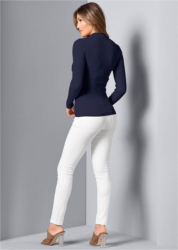 Back View Mock Neck Lace Up Sweater