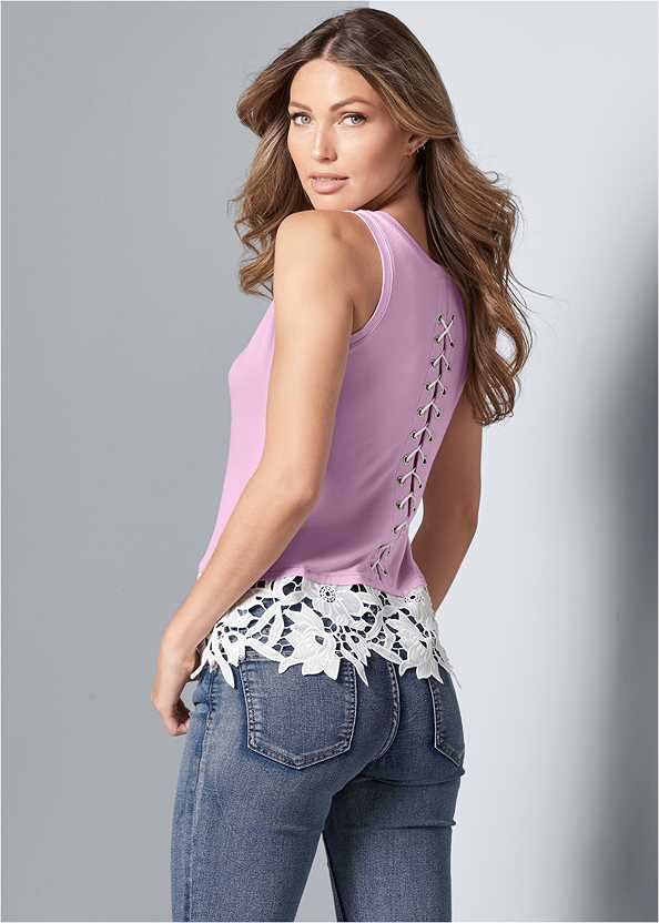 Back Lace Up Top,Mid Rise Color Skinny Jeans