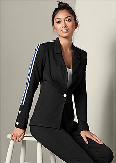 stripe detail blazer