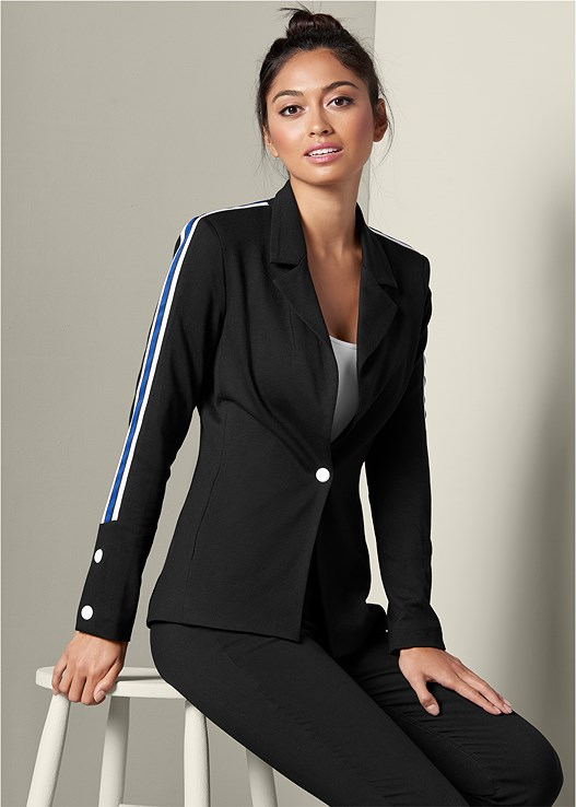 STRIPE DETAIL BLAZER,SEAMLESS CAMI,SLIMMING STRETCH JEGGINGS,HIGH HEEL SANDALS