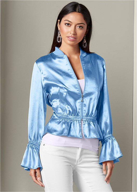 PEPLUM DETAIL BOMBER JACKET,SEAMLESS CAMI,COLOR SKINNY JEANS,LUCITE EARRINGS