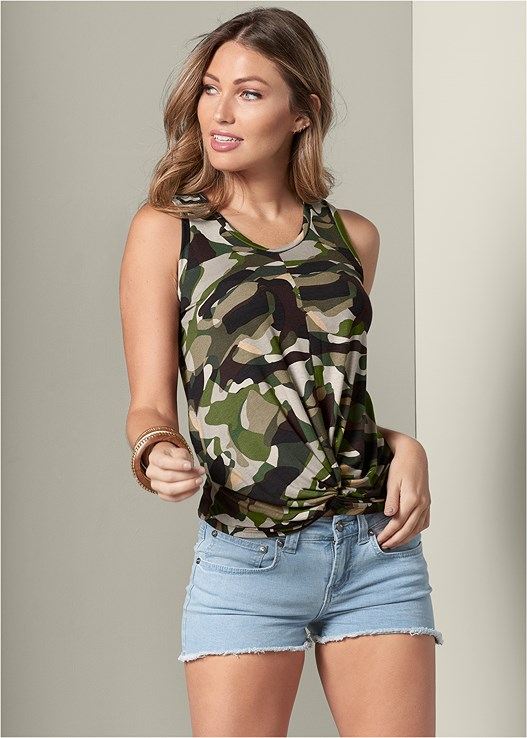 TWISTED KNOT DETAIL TANK,CUT OFF JEAN SHORTS