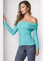 ruched off the shoulder top