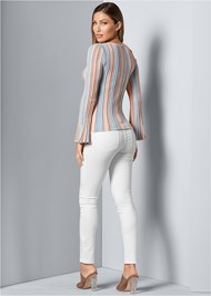 Back view Striped Bell Sleeve Sweater